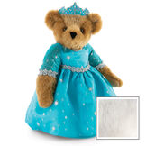 """15"""" Winterland Queen Bear - Three quarter view of standing jointed bear dressed in a blue dress with silver star tulle overlay and silver lace trim and blue and silver tiara - Vanilla image number 5"""