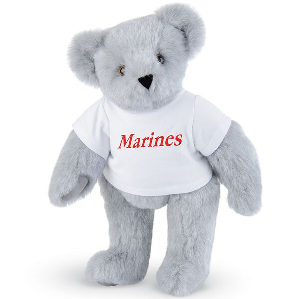 "15"" Marines T-Shirt Bear - Front view of standing jointed bear dressed in white t-shirt with red graphic that says, ""Marines"" - Gray fur image number 4"