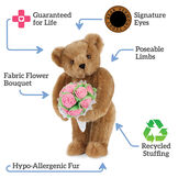 "15"" Pink Rose Bouquet Bear, Honey bear standing and holding pink roses, test says ""Guaranteed for Life; Signature Eyes; Poseable Limbs; Recycled Stuffing; Hypo-Allergenic fur; Fabric Flower Bouquet"". image number 4"