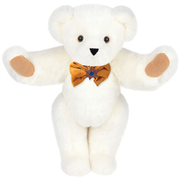 """15"""" Jewish Classic Bear - Front view of standing jointed bear dressed in gold velvet bow tie with Star of David in center - Vanilla white fur image number 2"""