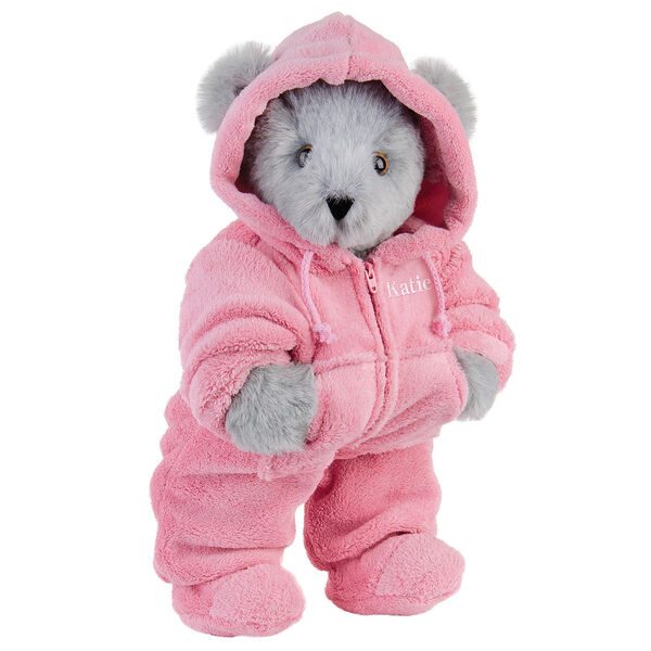 """15"""" Hoodie Footie Bear - Front view of standing jointed bear dressed in pink hoodie footie personalized with """"Emily"""" in white on left chest - Gray fur image number 5"""