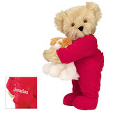 """15"""" Christmas Bedtime Bear with Puppy - Standing jointed bear dressed in white red dropseat onesie with 6"""" tan puppy. Inset image shows """"Jonathan"""" personalized on rear flap of PJ in white - Maple brown fur image number 4"""