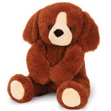 """13"""" PJ Pal Puppy  -  Front view of seated cinnamon brown Puppy with tan muzzle waving right arm image number 1"""