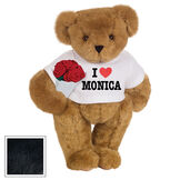 """15"""" """"I HEART You"""" Personalized T-Shirt Bear with Roses - Standing Jointed Bear in white t-shirt that says I """"Heart"""" You in black and red lettering holding a red rose bouquet - Black image number 4"""