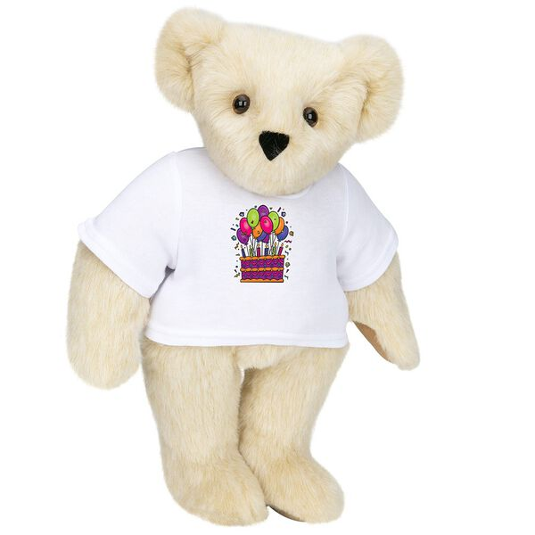 """15"""" Birthday T-Shirt Bear - Standing jointed bear dressed in white t-shirt with colorful birthday cake and balloons - Buttercream brown fur image number 1"""