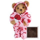 """15"""" Sweetheart Hoodie-Footie Bear with Red Roses - Front view of standing jointed bear dressed in pink hoodie footie with red heart pattern holding a bouquet of red roses, personalized with """"Anne"""" in black on left chest - Espresso fur image number 7"""