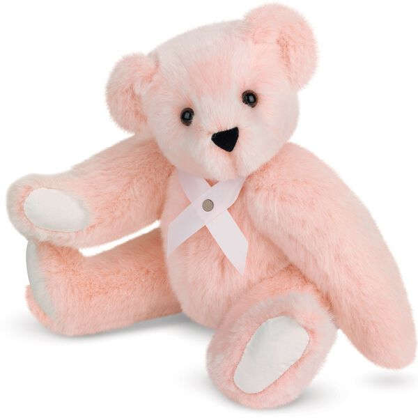 """15"""" Hope - Our Breast Cancer Awareness Bear - Three quarter view of seated jointed bear wearing in pink ribbon around neck with silver pin - Pink fur image number 0"""