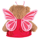 "13"" Super Soft Butterfly Bear - Back view of seated Almond Brown Bear in pink butterfly dress with printed felt wings and antenna headpiece image number 4"