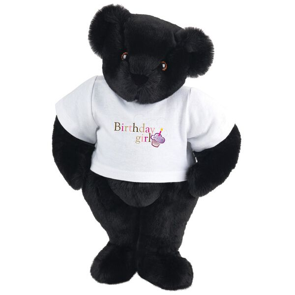 """15"""" Birthday Girl T-Shirt Bear - Standing jointed bear dressed in white t-shirt with colorful graphic that says, """"Birthday Girl' with purple cupcake and one candle - Black fur image number 3"""