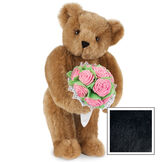 """15"""" Pink Rose Bouquet Teddy Bear - Front view of standing jointed bear holding a large pink bouquet wrapped in white satin and lace - Black image number 5"""