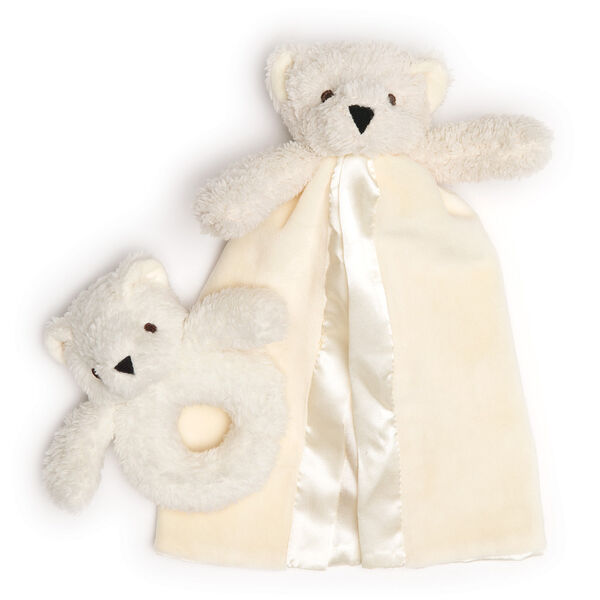Teddy Bear Rattle and Blanket Gift Set - ivory bear blanket and baby rattle image number 0