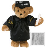 """15"""" Graduation Bear in Black Gown - Front view of standing jointed bear dressed in black satin graduation gown and cap and holding a rolled up diploma personalized """"Jackson 2021"""" on right sleeve and """"Syracuse"""" on left in gold - Gray image number 5"""