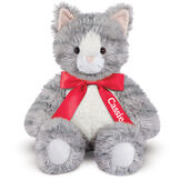 "18"" Oh So Soft Kitten - Front view of seated 18"" gray striped kitten with white muzzle, belly and foot pads wearing a red satin bow with tails personalized with ""Cassie"" in white lettering image number 3"