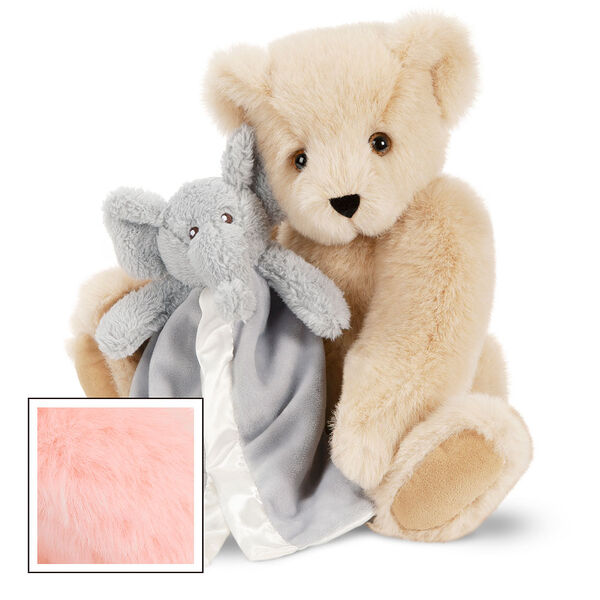 "15"" Cuddle Buddies Gift Set with Elephant Blanket - 15"" jointed seated bear with gray elephant blanket - Pink image number 4"