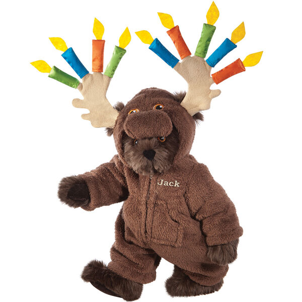 """15"""" Moose Be Your Birthday! Bear - Front view of standing jointed bear dressed in a brown hoodie footie with birthday candles on the tan antlers personalized with """"Jack"""" on left chest in gold lettering - Espresso brown fur image number 7"""