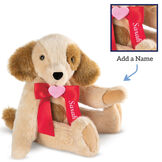 """15"""" Classic Puppy Dog - Three quarter view of Standing jointed tan puppy dog with honey brown spots, ears and taildressed in a red satin bow with pink heart in center personalized with """"Sarah"""" in white, also shown in inset image image number 8"""