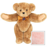 """15"""" Jewish Classic Bear - Front view of standing jointed bear dressed in gold velvet bow tie with Star of David in center - Pink image number 5"""