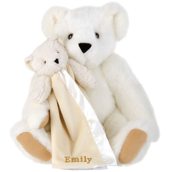 "15"" Cuddle Buddies Gift Set - Front view of seated jointed bear with ivory bear blanket with stroller strap personalized with ""Emily"" in gold lettering on corner of blanket - Vanilla white fur image number 2"