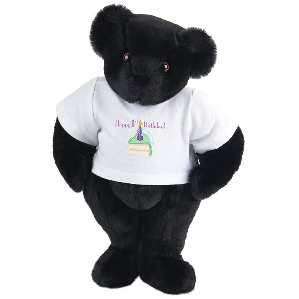 """15"""" 1st Birthday T-Shirt Bear- Vanilla Cake - Standing jointed bear dressed in a white t-shirt with a slice of vanilla cake artwork that says, """"Happy 1st Birthday!"""" on the front of the shirt - Black fur image number 3"""
