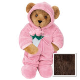 """15"""" Hoodie Footie Bear with Roses - Front view of standing jointed bear dressed in pink hoodie footie and holding pink bouquet of roses personalized with """"Emily"""" in white on left chest - Espresso image number 7"""