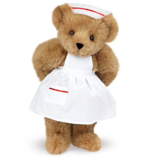 """15"""" Nurse Bear - Front view of standing jointed bear dressed in white nurse's dress and hat with red trim  - Honey brown fur image number 9"""
