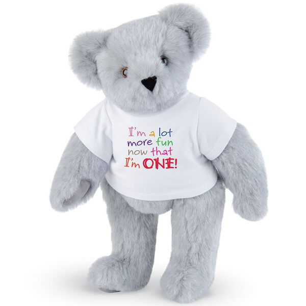 """15"""" Fun at One T-Shirt Bear - Front view of standing jointed bear dressed in white t-shirt with multi-colored graphic that says, """"I'm a lot more fun now that I am one!"""" - Gray fur image number 4"""