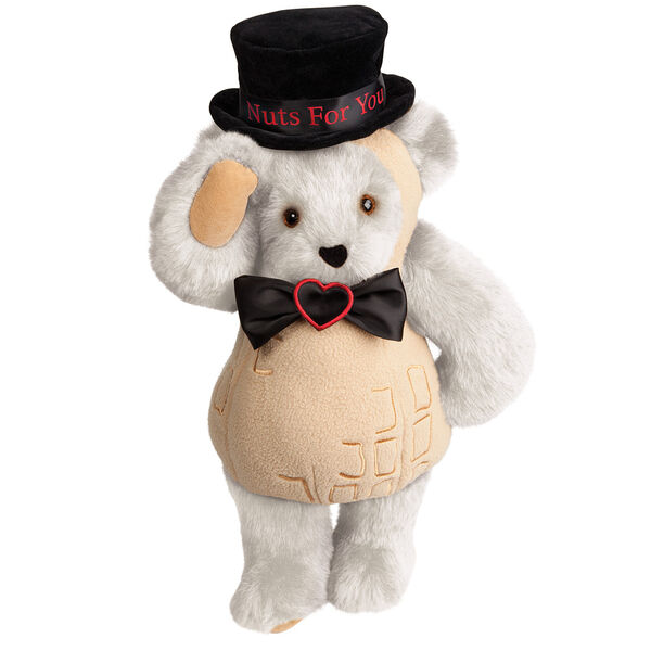"""15"""" Nuts for You - Front view of standing jointed bear dressed in a tan peanut costume with black bow with black top hat that says """"Nuts for You"""" in red on black satin band - Vanilla white fur image number 2"""