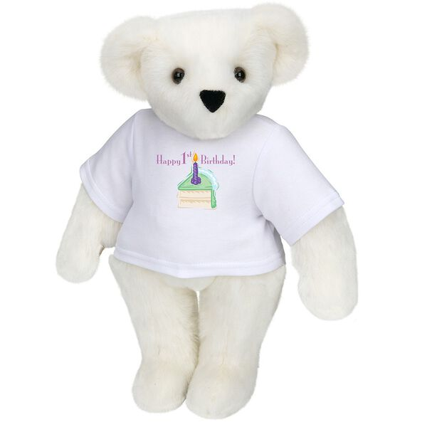 """15"""" 1st Birthday T-Shirt Bear- Vanilla Cake - Standing jointed bear dressed in a white t-shirt with a slice of vanilla cake artwork that says, """"Happy 1st Birthday!"""" on the front of the shirt - Vanilla white fur image number 2"""