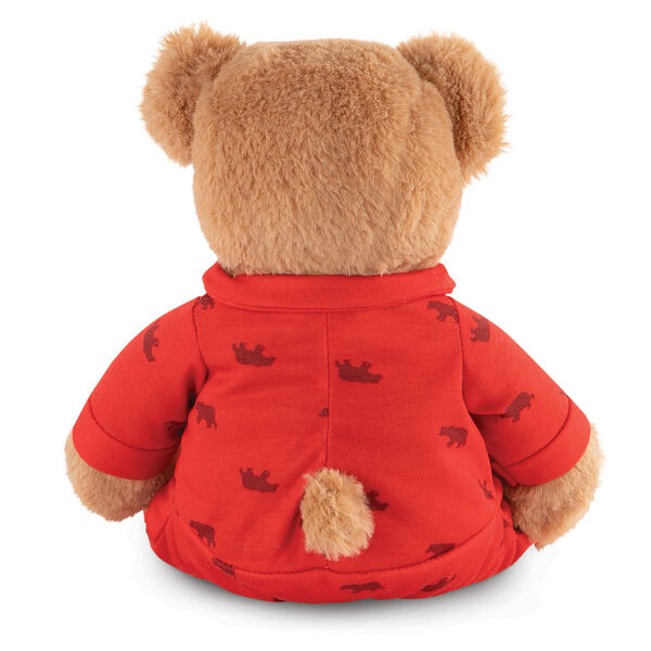 "13"" PJ Pal Bear - Back view of seated light brown Bear in red cotton onesie pajamas with grizzly bear print  image number 5"