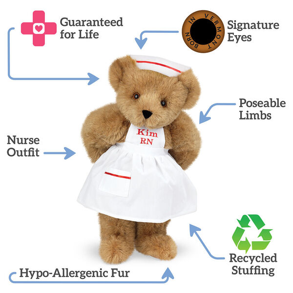 """15"""" Nurse Bear - Front view of standing jointed bear dressed in white nurse's dress and hat with red trim text reads, """"Signature Eyes;  Poseable Limbs; Recycled Stuffing; Hypo-Allergenic Fur; Nurse Outfit; Guaranteed For Life"""".  image number 8"""