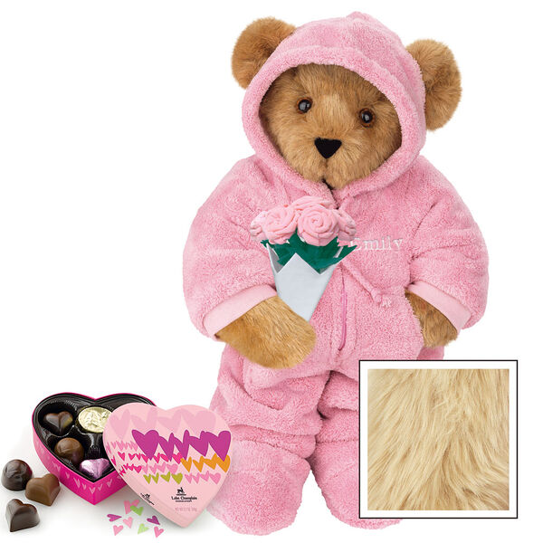 """15"""" Hoodie Footie with Roses and Chocolates - Front view of standing jointed bear dressed in pink hoodie footie, holding pink bouquet of roses and 6 pc. Heart box of chocolates. Left chest personalized with """"Emily"""" in white - Maple image number 6"""