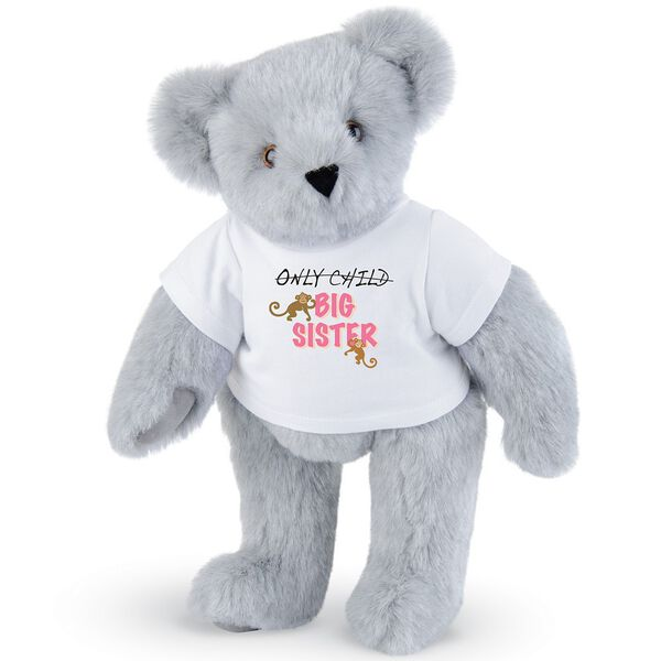 "15"" New Big Sister T-Shirt Bear - Front view of standing jointed bear dressed in white t-shirt with brown and pink graphic that says, ""only child (struck out) Big Sister"" with monkeys hanging from ""Sister"" - Gray fur image number 4"