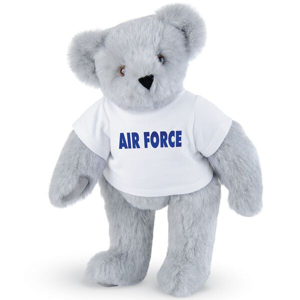 "15"" Air Force T-Shirt Bear - Standing jointed bear dressed in a white t-shirt says, ""AIR FORCE"" in royal blue lettering on the front of the shirt - Gray fur image number 4"