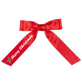 """3' to 4' Merry Christmas Bow with Tails- Red satin bow with tails; right tail has green holly leaves and """"Merry Christmas"""" in white lettering image number 0"""