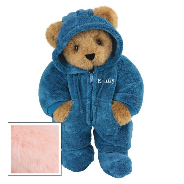 "15"" Hoodie-Footie Bear Blue - Front view of standing jointed bear dressed in blue hoodie footie personalized with ""Emily"" in white on left chest - Pink fur image number 5"