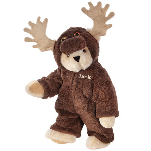 """15"""" Moose Bear - Front view of standing jointed bear dressed in a brown hoodie footie with tan antlers personalized with """"Jack"""" on left chest in gold lettering - Buttercream brown fur image number 1"""