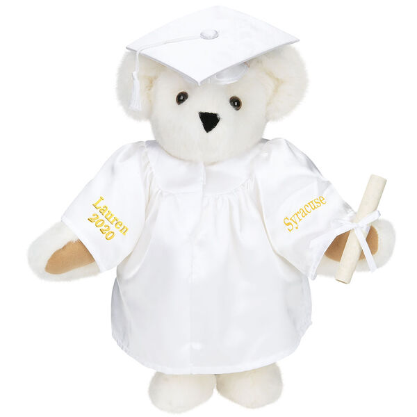 """15"""" Graduation Bear in White Gown - Front view of standing jointed bear dressed in black satin graduation gown and cap and holding a rolled up diplomapersonalized """"Jackson 2020"""" on right sleeve and """"Syracuse"""" on left in gold - Vanilla white fur image number 2"""