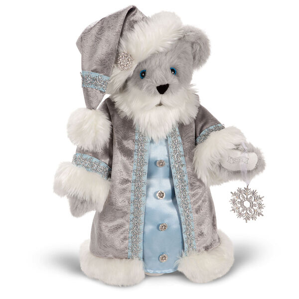 """15"""" Limited Edition Snowflake Santa - front view of gray standing bear in a silver and fur long coat image number 1"""