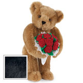 """15"""" Red Rose Bouquet Bear - Front view of standing jointed bear holding a large red bouquet wrapped in white satin and lace - Black fur image number 3"""