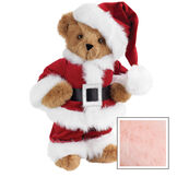 """15"""" Santa Claus Bear - Front view of standing jointed bear dressed in red velvet and white fur Santa suit with pants, coat and hat and black belt - Pink image number 5"""