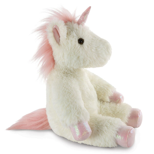 """18"""" Fluffy Fantasies Unicorn - Side view of seated creamy white Unicorn with iridescent pink horn and hooves and fluffy mane and tail image number 0"""