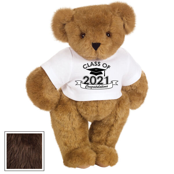 "15"" Graduation T-Shirt Bear - Standing jointed bear dressed in a white t-shirt with Class of 2021 on the front, personalized with ""Congratulations"" - Espresso image number 7"