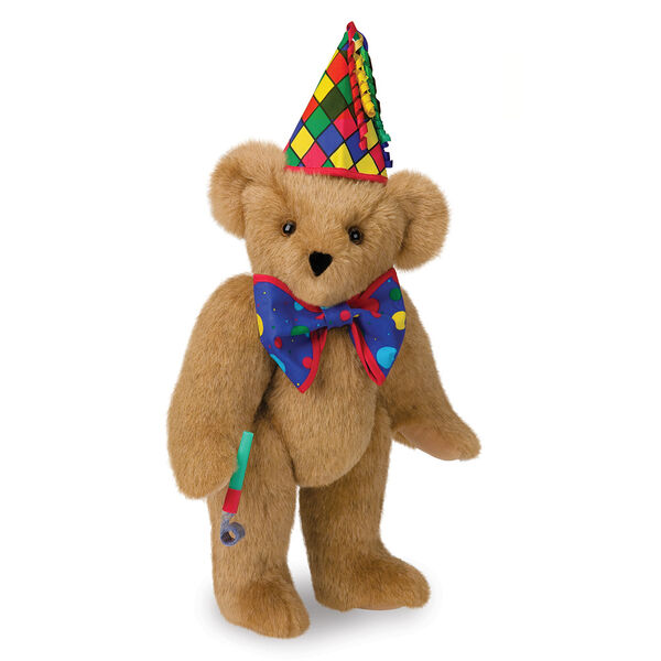 "15"" Celebration Bear - Standing jointed bear dressed in colorful diamond print party hat with ribbon streamers, a blue dot bow tie holding a party horn  - Honey brown fur image number 0"
