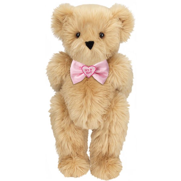 "15"" ""It's a Girl!"" Bow Tie Bear - Standing jointed bear dressed in light pink satin bow tie with ""It's a Girl!"" is embroidered on heart center - long Maple brown fur image number 5"