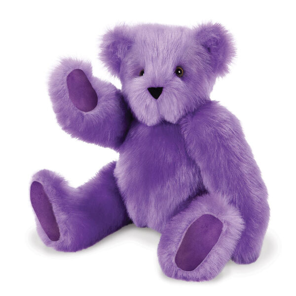 "15"" Special Edition Spark Kindness Classic Bear - Seated jointed purple bear with purple paw pads and brown eyes. Bear is waving image number 0"