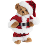 "15"" Santa Claus Bear - Front view of standing jointed bear dressed in red velvet and white fur Santa suit with pants, coat and hat and black blet - Honey brown fur image number 0"