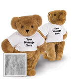 """15"""" Say Anything T-Shirt Bear - Front view of standing jointed bear dressed in white t-shirt with black graphic that says, """"Your message here"""" on the front and the back of the shirt - Gray fur image number 4"""