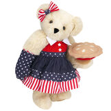 """15"""" All American Mom Bear - Standing jointed bear in a red, white and blue stars and stripes dress with matching head bow and oven mitt holding an apple pie - Buttercream brown fur image number 1"""