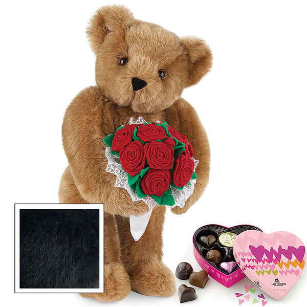 """15"""" Red Rose Bouquet Bear and Chocolates - Front view of standing jointed bear holding a large red bouquet wrapped in white satin and lace  and 6 pc. heart box of chocolates - Black image number 4"""