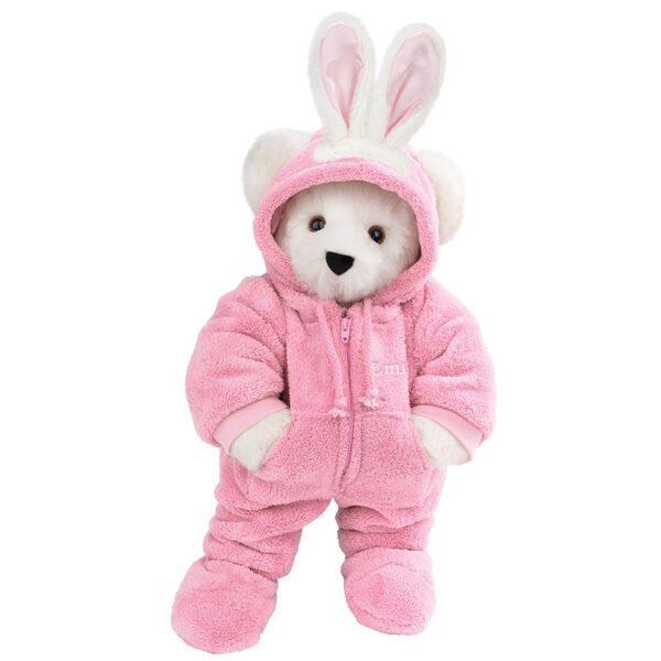 """15"""" Hoodie-Footie Bunny Bear - Front view of standing jointed bear dressed in pink hoodie footie and bunny ears personalized with """"Emily"""" in white on left chest - Vanilla white fur image number 3"""